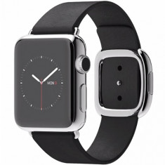 Watch Otel Inoxidabil 38 MM si Curea Modern Neagra M, 38mm, Argintiu, Apple