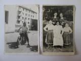 Lot 2 fotografii colectie aprox. 85 x 60 mm din anii 50-60:moto/costume populare, Alb-Negru, Romania de la 1950
