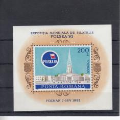 ROMANIA 1993  LP 1313 EXPOZITIA MONDIALA DE FILATELIE POLSKA 93   COLITA MNH