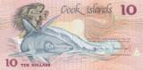 Bancnota Insulele Cook 10 Dolari (1987) - P4 UNC ( numar mic de serie )