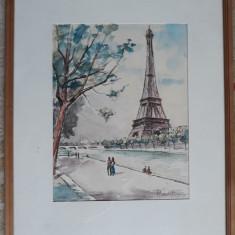 TABLOU VECHI - ACUARELA - PARIS - TURNUL EIFFEL - SEMNAT DREAPTA JOS, Peisaje, Altul