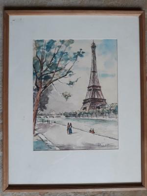 TABLOU VECHI - ACUARELA - PARIS - TURNUL EIFFEL - SEMNAT DREAPTA JOS foto