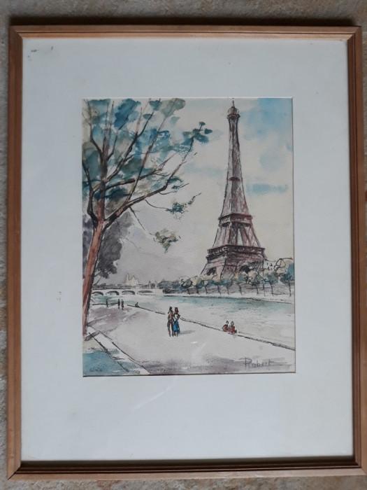 TABLOU VECHI - ACUARELA - PARIS - TURNUL EIFFEL - SEMNAT DREAPTA JOS