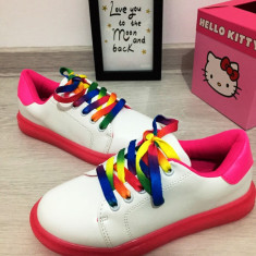 Adidasi albi roz colorati curcubeu tenisi pantofi sport copii 32 33 35, Fete, Din imagine