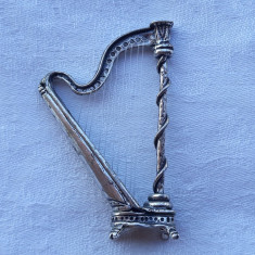 HARPA argint SPLENDIDA in miniatura Manopera EXCEPTIONALA de colectie SUPERBA, Ornamentale