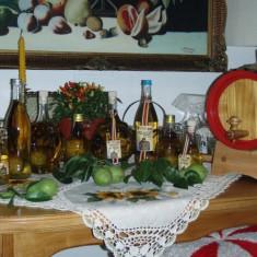 Sticle cu forme deosebite, cu pere crescute in ele si cu palinca de pere