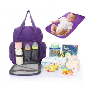 Geanta - rucsac pentru mamici si bebelusi cu saltea-mov