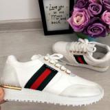 Cumpara ieftin Adidasi albi argintii cu dunga aurie pantofi sport fete copii 31