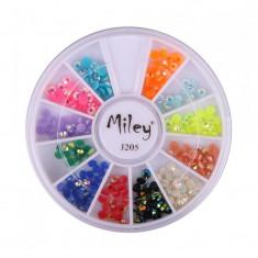 Carusel decor pentru unghii J205, model cristale multicolore