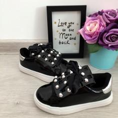 Adidasi negri de lac luciosi cu tinte pantofi sport fete copii 25 26 27, 30, Din imagine