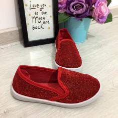 Espadrile rosii cu sclipici comode balerini copii / fetite 26 28 29