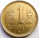 SPANIA , 1 PESETA 1980 , Juan Carlos I 1982 FIFA World Cup , DIAMETRU 21mm, Europa