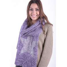 Fular Dama Only Scarf With Star Stud Print Lavander