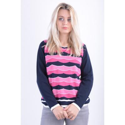 Pulover Bumbac Signature Marjatta Roz Bleumarin foto