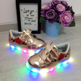 Adidasi metalici bronz cu lumini LED pantofi sport fete copii 26 27