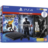 Consola Sony Playstation 4 Slim 1Tb Jet Black + Ratchet & Clank + Uncharted 4 + The Last Of Us