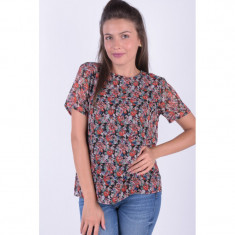 Bluza Florala Maneca Scurta Pieces Amper All Over, L, M, S, XL, XS, Multicolor