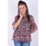 Bluza Florala Vero Moda Power Frill 2/4 Negru, L, M, S, XS, Multicolor