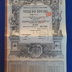 Titlu 500 lei amortibila in aur - Obligatiune 1913 - Actiune - Datoria publica