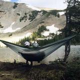 Hamac camping 290x130 cm pentru două persoane, culoare gri