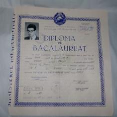Diploma veche cartonata cu fotografie 1969,DIPLOMA DE BACALAUREAT Originala
