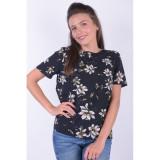 Bluza Flori Maneca Scurta Pieces Kimmie Negru, L, M, S, XL, XS