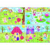 Set 4 Puzzle-uri Zane, 12, 16, 20, 24 piese, Galt