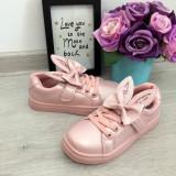 Adidasi roz cu fundita si urechi pantofi sport fete copii 30