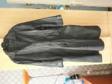 Haina jacheta lunga din piele naturala, dama, Negru