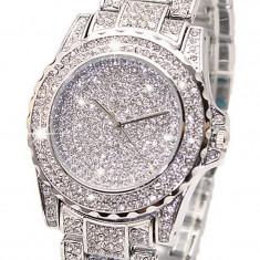 Ceas dama/barbati Iced Out + cutie cadou, cu pietricele Bling Diamond, unisex, Fashion, Mecanic-Manual, Otel