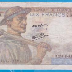 (2) BANCNOTA FRANTA - 10 FRANCS 1944 (22 IUNIE 1944), VARIANTA CU MINERUL