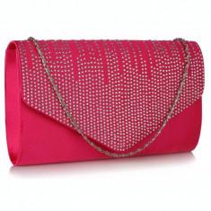 Geanta plic roz din satin/ acrilic Leesun, de dama, LSE0070