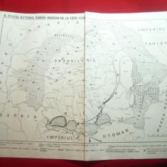 Harta Statului National Roman Modern 1859-1878 / formarea sa, dim.= 29x23 cm