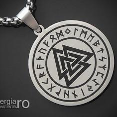Pandantiv Talisman Valknut Odin Triunghi cu Rune INOX - cod PND112
