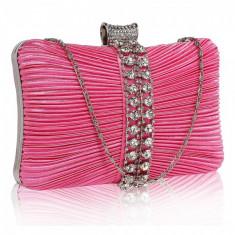 Geanta clutch roz din metal/ satin LeeSun, de dama, LSE0049