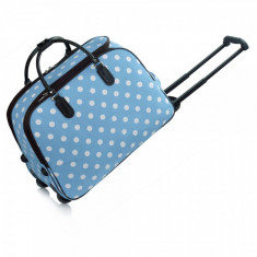 AGT00309 - Blue Travel Holdall Trolley Luggage With Wheels - CABIN APPROVED