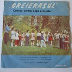 Rar! Vinil EP 7'' Corul de copii prescolari,,Greierasul''liceul muzica nr.1 Bucu, electrecord
