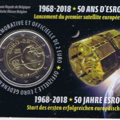 Moneda BELGIA 2 euro comemorativa 2018_ESRO-2B, coin card, Europa, Cupru-Nichel