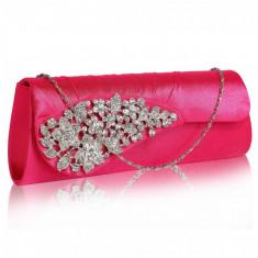 Geanta plic roz din satin Leesun, de dama, LSE0078