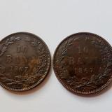 Lot 2 monede 10 bani 1867 Watt & Co + Heaton Romania - Piese de TOP Colectie, Alama