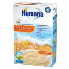 Cereale Humana cu 5 Cereale si Biscuiti 6 luni+, 200g
