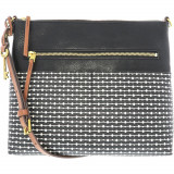Geanta Fossil Dama Fiona Fabric Large Crossbody Cross Body Bag - Negru Stripe