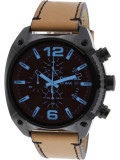 Ceas barbatesc Diesel Overflow DZ4482 negru Leather Japanese Chronograph DZ4482