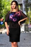 Rochie neagra cu volan imprimat floral, Raspberry