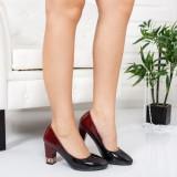 Pantofi Rondol negri cu visiniu