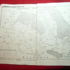 Harta -Romania in toamna anului 1940 /Insurectia Nationala Armata dim.= 29x23 cm