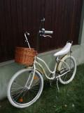 Bicicleta PEGAS de strada, crem, cu cos, lumini, antifurt, sonerie si oglinda, 17, 3, 26