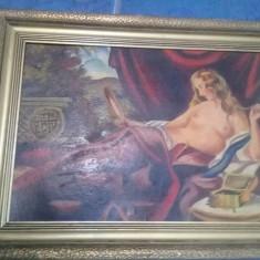 Pictura veche superba,tablou pictat Seminud,pictura de colectie,Transp GRATUIT, Nud, Ulei, Impresionism