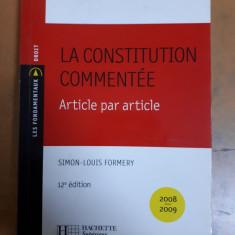 Formery, La constitution commente, Hachette 2008 constituția comentată