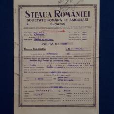 """Polita de asigurare """" Steaua Romaniei """" - 1940"""